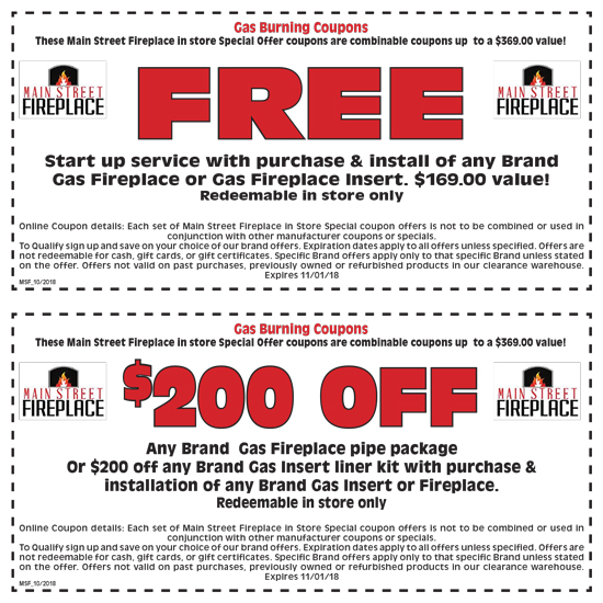 Main Street Fireplace Gas Coupon